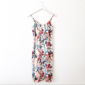 Club Monaco Silk Bird Print Elizabella Midi Dress